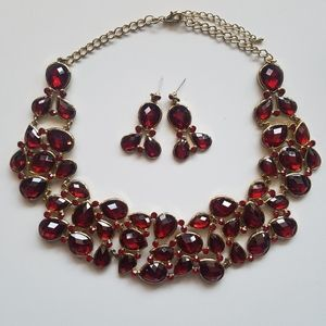 ruby red gem necklace and earrings set